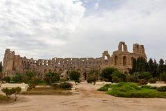 Amphitheatre of El Jem in Tunisia stock photo