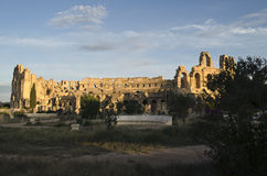 Amphitheatre of El Jem, the Roman Coliseum in Tunis royalty free stock photo