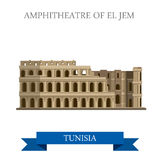 Amphitheatre of El Jem Tunisia Flat historic vecto Royalty Free Stock Photos