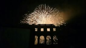 Amphitheatre and fireworks. View on the fireworks from the Amphitheatre Royalty Free Stock Photo