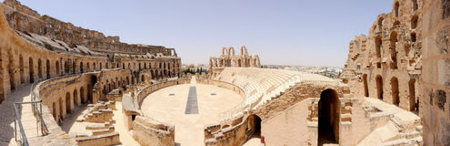 Amphitheatre in Gr-Jem, Tunesië Royalty-vrije Stock Afbeeldingen