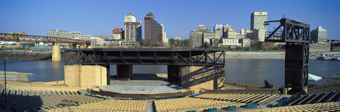 Amphitheatre on island in middle of Mississippi River looking at Memphis, TN skyline Stock Photos