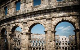 Amphitheatre nei PULA, Croatia Fotografia Stock Libera da Diritti