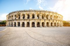 Amphitheatre in Nimes Stock Photo