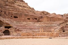 Roman Amphitheatre, ancient city of Petra, Jordan. The Amphitheatre in Petra, originally hellenistic in design and dating from the 1st century AD was refurbished Stock Images