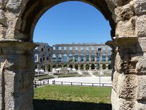 Colosseum Pula. Amphitheatre in Pula, ancient Roman Arena, Croatia, Istria Stock Images