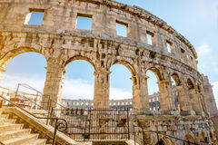 Amphitheatre in Pula city Stock Images