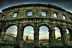 Amphitheatre in Pula,Croatia royalty free stock images