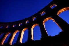 Amphitheatre romain dans les Pula Photographie stock libre de droits