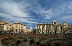 Amphitheatre romain de Catane (panorama) Image libre de droits