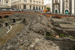 Amphitheatre romano de Catania, Sicília Fotografia de Stock