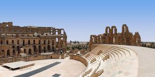 Amphitheatre romano em Tunísia imagem de stock