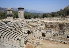 Amphitheatre romano em Xanthos, Turquia imagens de stock