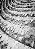 Amphitheatre Rows. Pula, Croatia. Amphitheatre Rows. Seats stairway closeup. Ancient Roman theatre in Pula, Croatia. Black and white monochrome texture Royalty Free Stock Images
