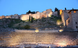 Amphitheatre ruin in Malaga, Spain Royalty Free Stock Photos