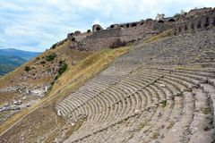 Amphitheatre in the ruins of the ancient city of Pergamon, Turkey royalty free stock photography