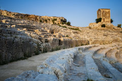 Amphitheatre in Siracuse. Amphitheatre in Siracusa - Syracuse, Italy at sunset light Royalty Free Stock Photography