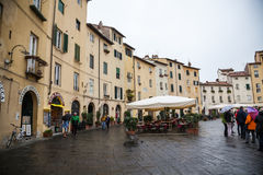 Amphitheatre Square in Lucca, Italy Stock Photos