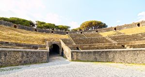 Amphitheatre van Pompei, Napels, Italië Royalty-vrije Stock Foto's