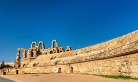 Amphitheatre von EL Jem, eine UNESCO-Welterbestätte in Tunesien stockfotografie