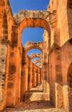 Amphitheatre von EL Jem, eine UNESCO-Welterbestätte in Tunesien lizenzfreies stockfoto