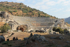 Amphitheatre w Ephesus antykwarskich ruinach antyczny miasto w Selcuk, Turcja Obraz Royalty Free