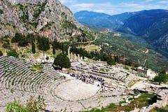 Amphithéâtre à Delphes, Grèce Photos libres de droits