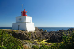Amphitrite Lighthouse. Historic Amphitrite Lighthouse in Ucluelet, Vancouver Island, part of the Wild Pacific Trail royalty free stock images