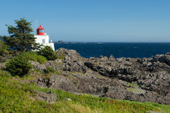 Amphitrite Lighthouse. Historic Amphitrite Lighthouse in Ucluelet, Vancouver Island, on the Wild Pacific Trail stock photos