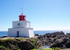 Amphitrite Lighthouse in Ucluelet, Vancouver Island, British Col Royalty Free Stock Photos