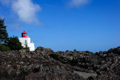 Amphitrite lighthouse. Vancouver Island during day royalty free stock photos