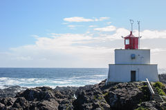 Amphitrite lighthouse. Vancouver Island during day royalty free stock photography