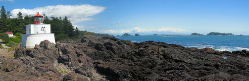Amphitrite Point Lighthouse and Broken Islands at Barkley Sound, British Coumbia, Canada. Ucluelet Lighthouse at Amphitrite Point is located on the West Coast of royalty free stock images