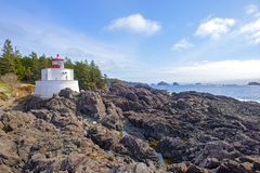 Amphitrite Point Lighthouse located in Ucluelet, Vancouver Island, BC. View of the Amphitrite Point Lighthouse located in Ucluelet, Vancouver Island, BC, Canada royalty free stock image