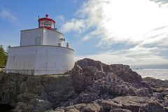 Amphitrite Point Lighthouse located in Ucluelet, Vancouver Island, BC. View of the Amphitrite Point Lighthouse located in Ucluelet, Vancouver Island, BC, Canada stock photo