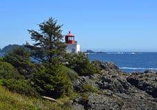 Amphitrite Point Lighthouse, Ucluelet BC. Amphitrite Point Lighthouse overlooking the Barkley Sound , Ucluelet Vancouver Island British Columbia Canada stock image