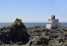 Amphitrite Point Lighthouse, Ucluelet BC. Amphitrite Point Lighthouse overlooking the Barkley Sound , Ucluelet Vancouver Island British Columbia Canada royalty free stock photo