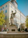 Amphitrite sculpture in fountane on the central square of Lviv. Ukraine in autumn stock photo