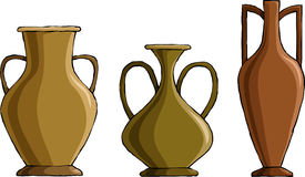 Amphora. Three amphora on a white background, vector Royalty Free Stock Images