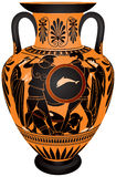 Amphora, Ancient Greece Hoplite battle. Amphora, Ancient Greece black-figure vase painting Hoplite battle vector images, ceramic pottery for the vine and olive Royalty Free Stock Photo