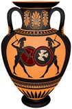 Amphora with the Ancient Greece warrior's Stock Photos