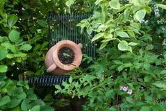 Amphora auf einem Gartenstuhl lizenzfreie stockfotos