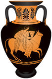 Amphora Europa and the bull. Myth of the Abduction of virgin Phoenician princess Europa by Zeus in the form of a bull, Red-figure vase painting vector Royalty Free Stock Image