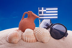 Amphora and greece flag Royalty Free Stock Image