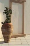 Amphora griego con el olivo Imagenes de archivo