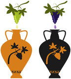 Amphora with image of grape vine and grape cluster. Amphora with image of grape vine, stylization to an antic pottery, and natural grape cluster Stock Image
