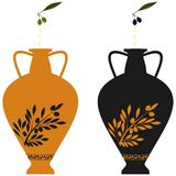 Amphora with image of olive branch and natural olives. Amphora with image of olive branch, stylization to an antic pottery and natural olives Royalty Free Stock Photo