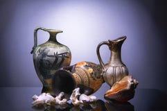 Amphora, the jug and sea shells Stock Image