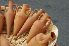 Amphora souvenirs in a basket. For sell. Nessebar, Bulgaria Stock Photos
