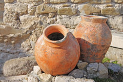 Amphora. Two antique amphoras on the background of the ruins Stock Images